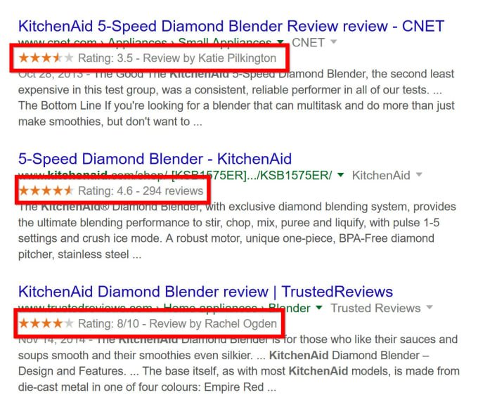 A google search for KitchenAid Diamond Blender that shows Schema Markup ratings from customer reviews in search results.